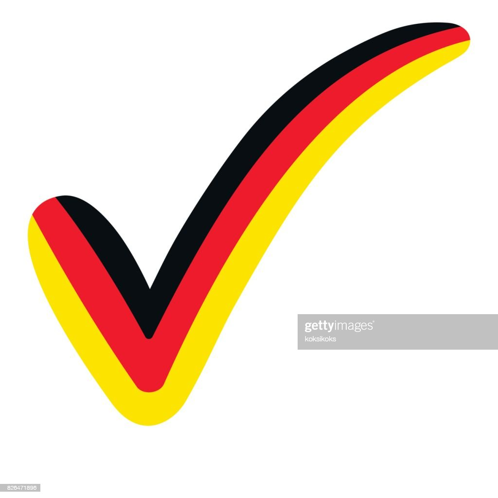 Check Mark Style Germany Flag Symbol Elections Voting And Approval
