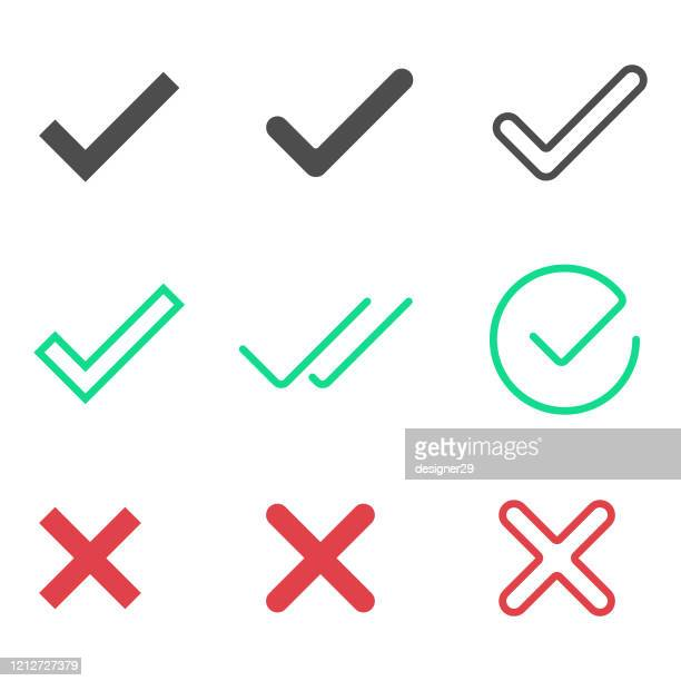 check mark, tick and cross icon set vector design on white background. - tick symbol stock illustrations