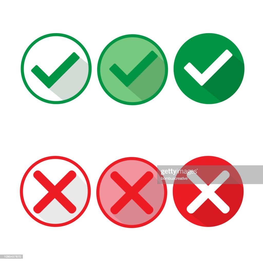 Check Mark Wrong Mark Icon stock illustration - Getty Images
