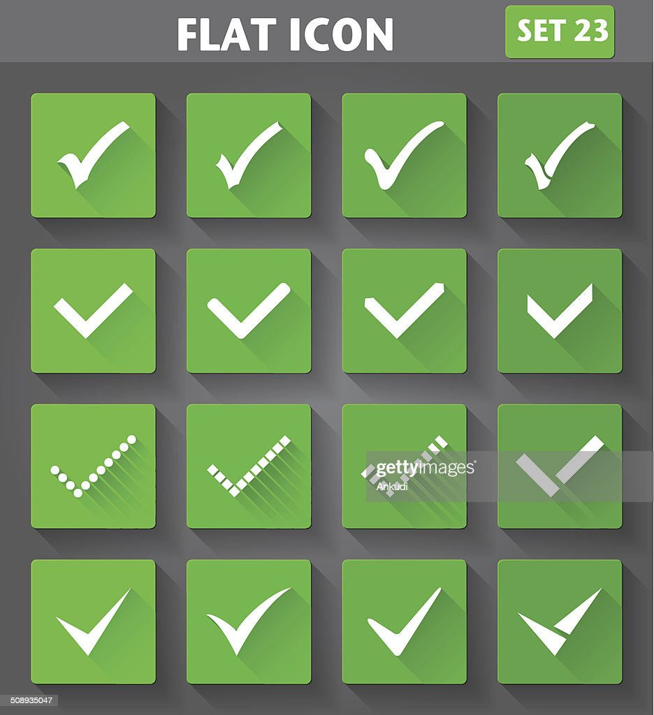 Check Marks or Ticks Icons set in flat style