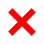 Check marks - red cross icon simple - vector