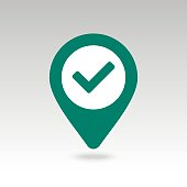 Check pin map icon. Map pointer, markers.