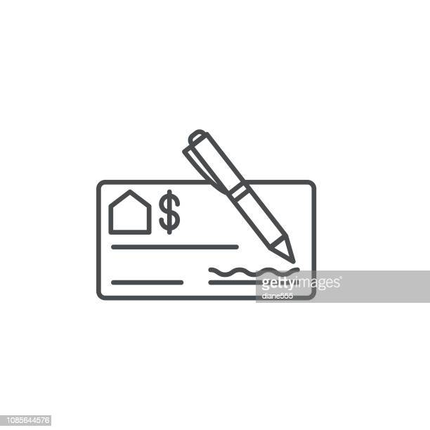 check thin line real estate icon - cheque stock illustrations, clip art, cartoons, & icons