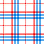 Check white textile with red and blue stripes seamless pattern