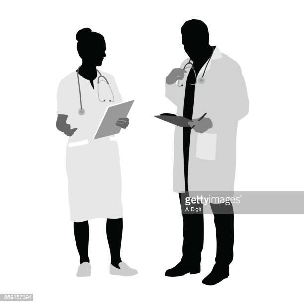 ilustraciones, imágenes clip art, dibujos animados e iconos de stock de consulte con el médico - asistente de enfermera
