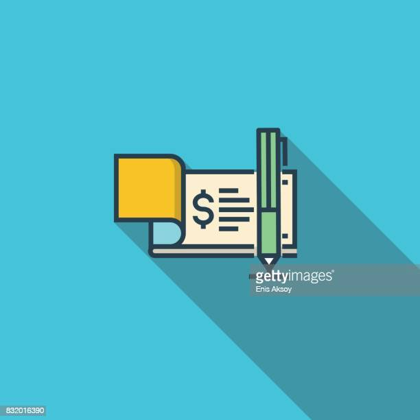 checkbook flat icon - cheque stock illustrations, clip art, cartoons, & icons