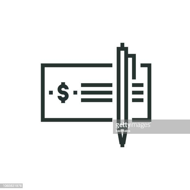 checkbook line icon - paycheck stock illustrations, clip art, cartoons, & icons