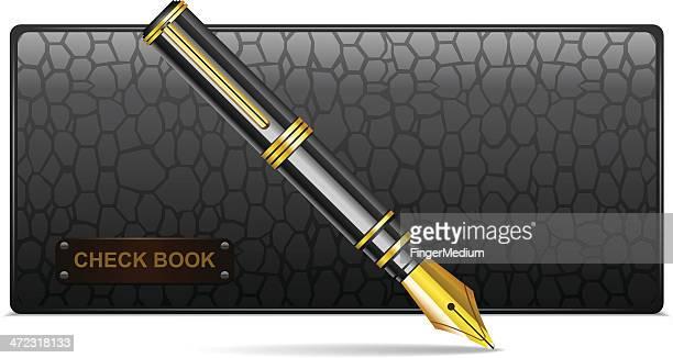 ilustrações, clipart, desenhos animados e ícones de do talão com caneta - registro livro