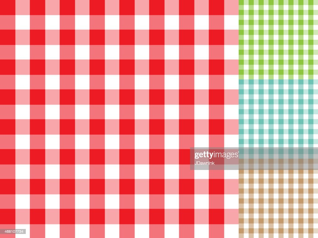 BBQ Checked Table Cloth Background Pattern Set With Texture : Vector Art