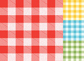 Checked table cloth spring background pattern set with texture