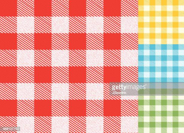 checked table cloth spring background pattern set with texture - tablecloth stock illustrations, clip art, cartoons, & icons