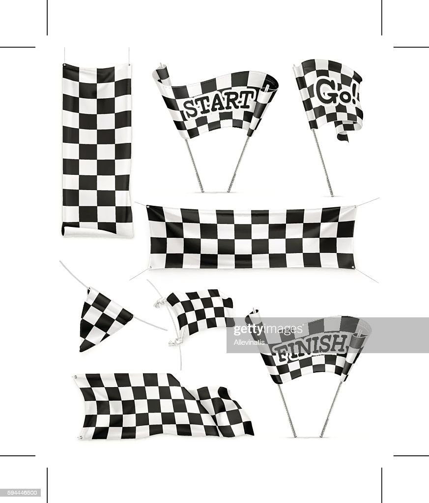 Checkered banners and flags, vector icon set