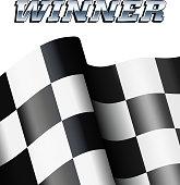WINNER Checkered, Chequered Flag Motor Racing