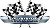 WINNER Checkered, Chequered Flags Motor Racing
