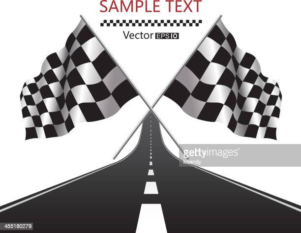 checkered flag and road - sports race stock illustrations