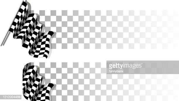 checkered flag banner - checkered flag stock illustrations