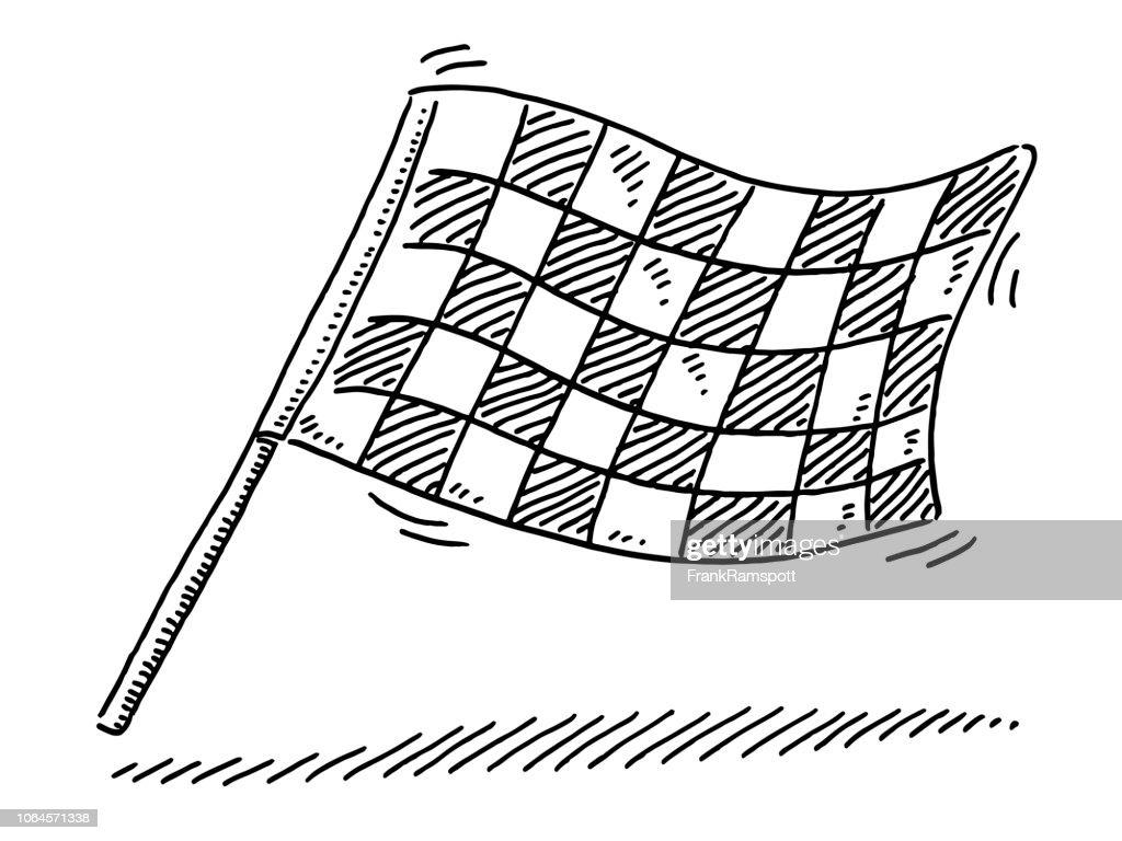 Zielflagge Zeichnung : Vektorgrafik