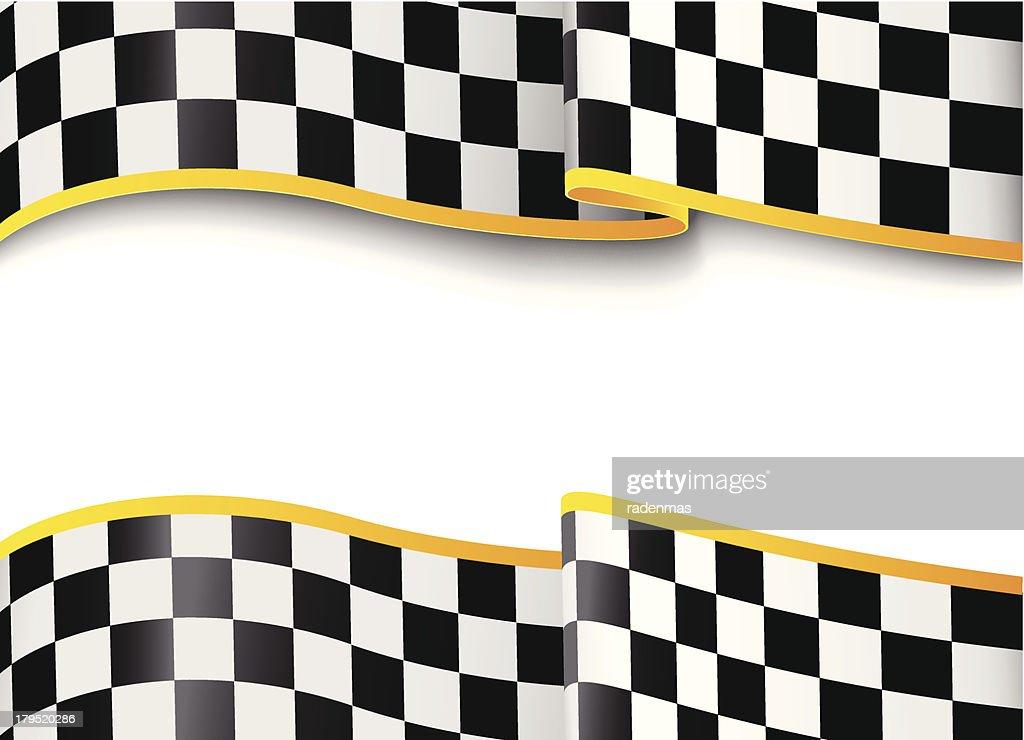 Checkered flag graphic design banner