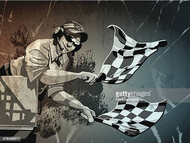 checkered flag grunge monochrome - race official stock illustrations, clip art, cartoons, & icons
