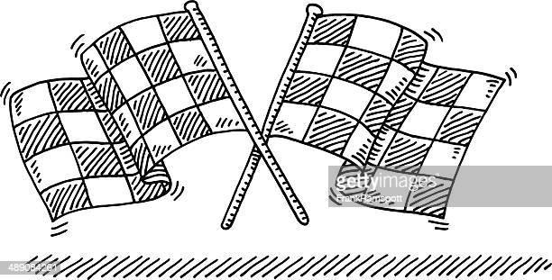 Kariertes Flags überkreuzten Zeichnung