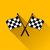 checkered flags with long shadow