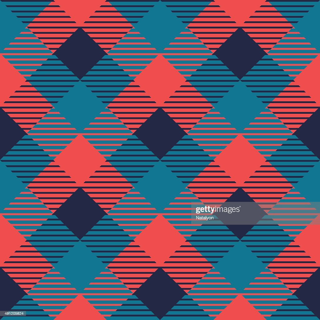 Checkered gingham fabric seamless pattern in grey blue and pink