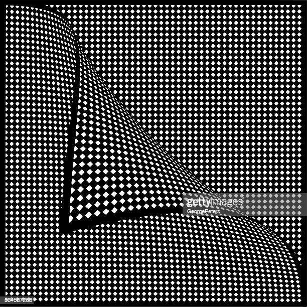 checkered halftone pattern with page curl - stretched image stock illustrations, clip art, cartoons, & icons