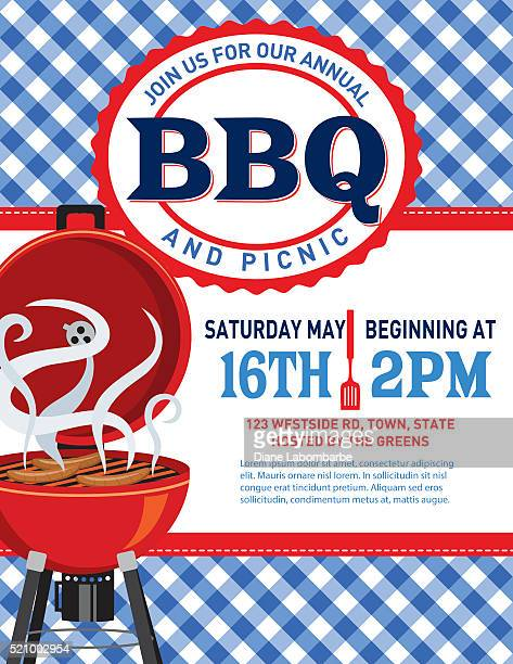 checkered plaid tablecloth bbq invitation template - picnic stock illustrations