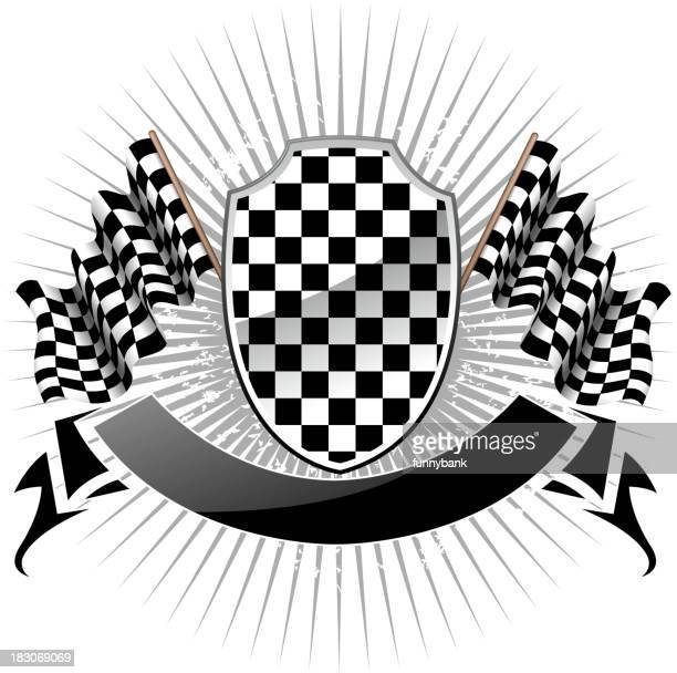 checkered shield - rally car racing stock illustrations, clip art, cartoons, & icons