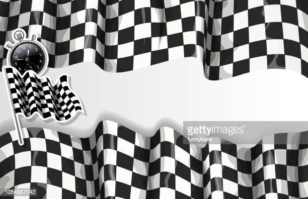 checkered speed banner - grand prix motor racing stock illustrations