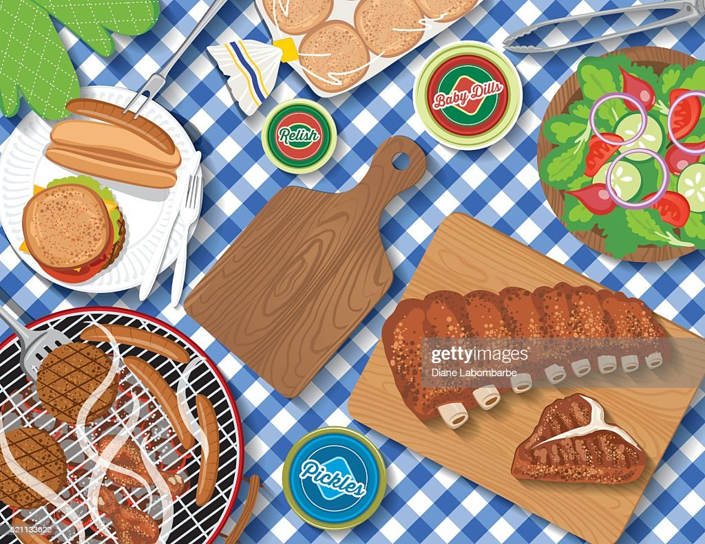 Checkered Tablecloth With Picnic Flatlay : stock illustration