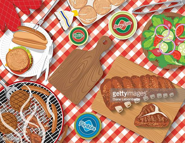 checkered tablecloth with picnic flatlay - tablecloth stock illustrations, clip art, cartoons, & icons