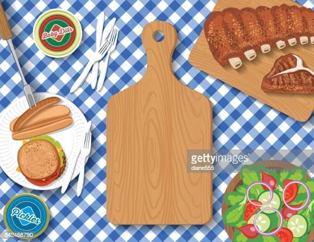 Checkered Tablecloth With Picnic Flatlay