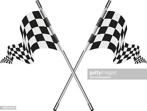 checkered vector flags or reached the goal - checkered flag stock illustrations