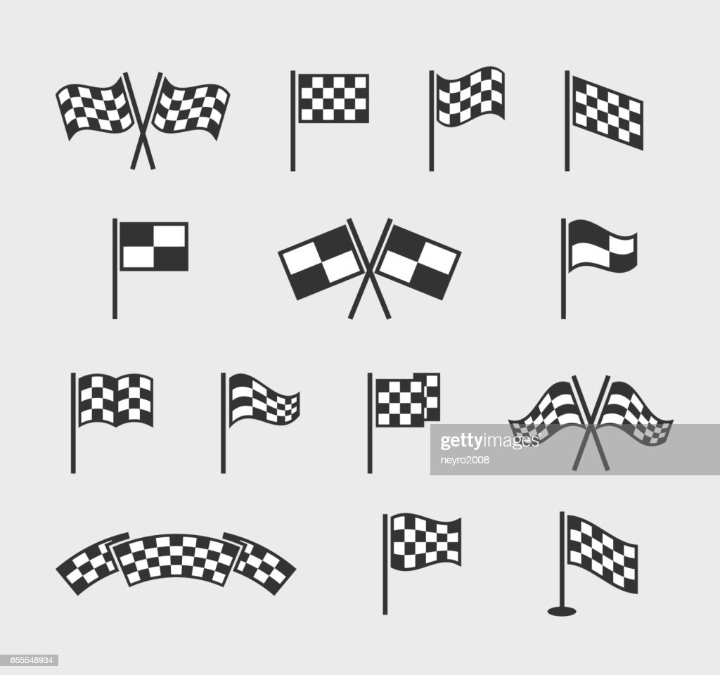 Checkered vector flags. Racing waving finish and start line flag set isolated on white background