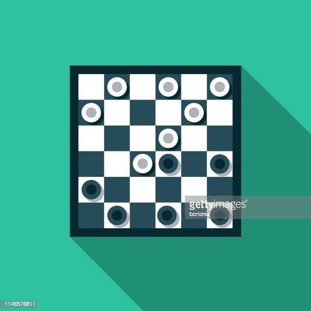 ilustraciones, imágenes clip art, dibujos animados e iconos de stock de juego de damas icono de diseño plano - tablero de ajedrez