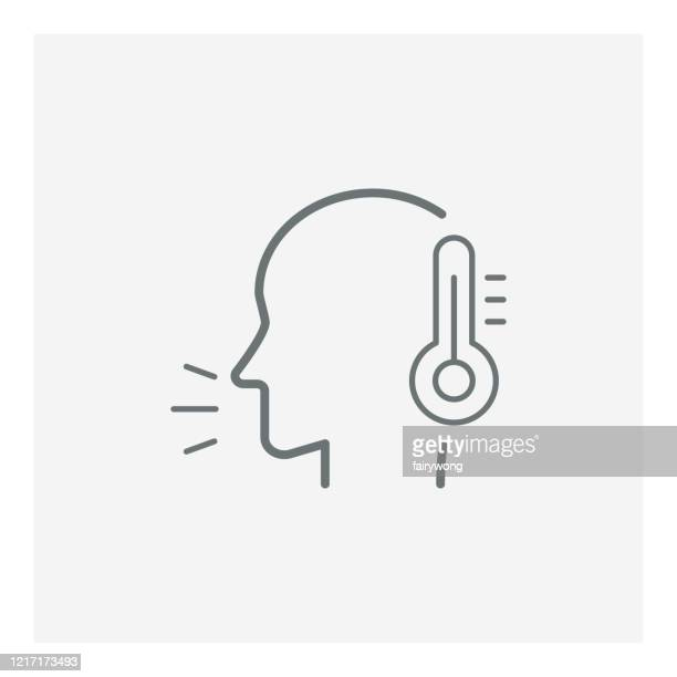 checking body temperature icon, coronavirus and covid-19 concept - fever stock illustrations