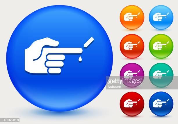 ilustraciones, imágenes clip art, dibujos animados e iconos de stock de control glucosa niveles en icono de círculo brillante color botones - diabetes