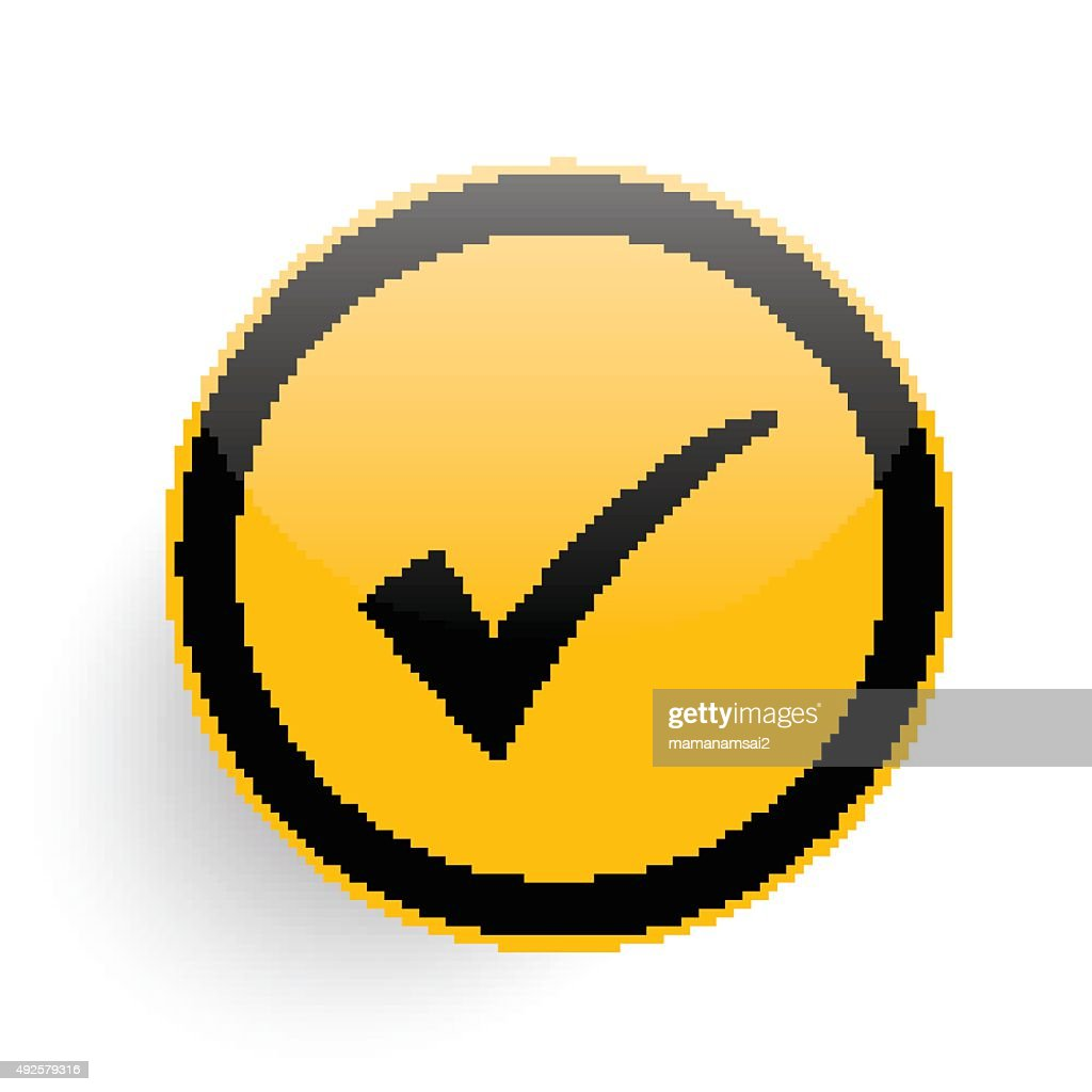 Checking on yellow button,clean vector