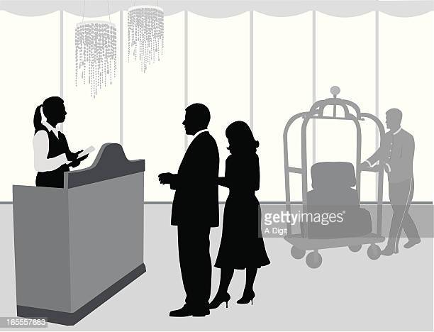 checking'inn vector silhouette - hotel reception stock illustrations, clip art, cartoons, & icons
