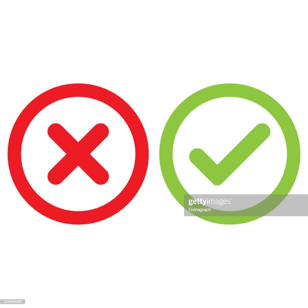 checklist and crossmark set, outline,isolated vector