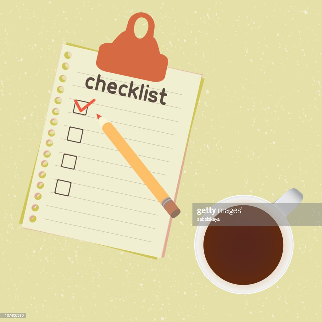 checklist and cup of coffee : Vektorgrafik