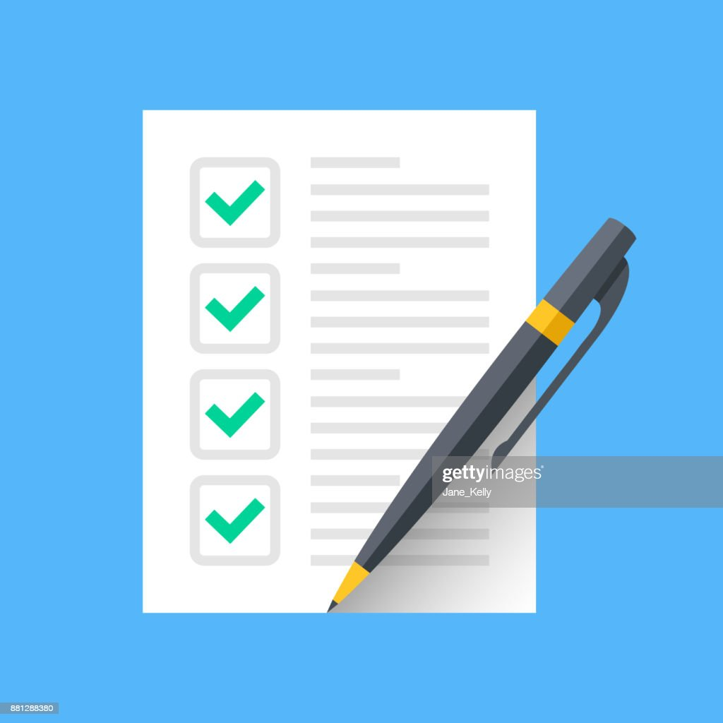 Checklist and pen. Document with green ticks checkmarks and pen. Checklist icon, application form, complete tasks, to-do list, survey concepts. Modern flat desgin vector icon