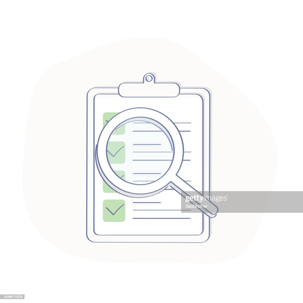 Checklist Clipboard and Magnifying Glass illustration
