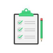 Checklist, Clipboard and Pencil Icon Flat Design on White Background.