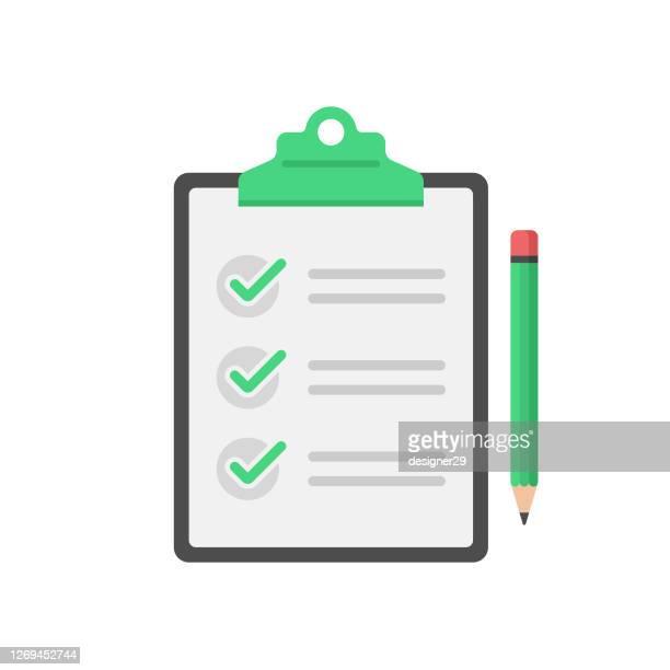 checklist, clipboard and pencil icon flat design on white background. - checklist stock illustrations