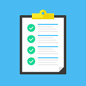 Checklist. Clipboard with green check marks. Green ticks. Survey, form, test, quiz, tasks complete, job done concepts. Document and checkmarks. Flat design. Vector illustration