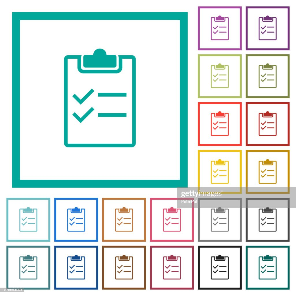 Checklist flat color icons with quadrant frames