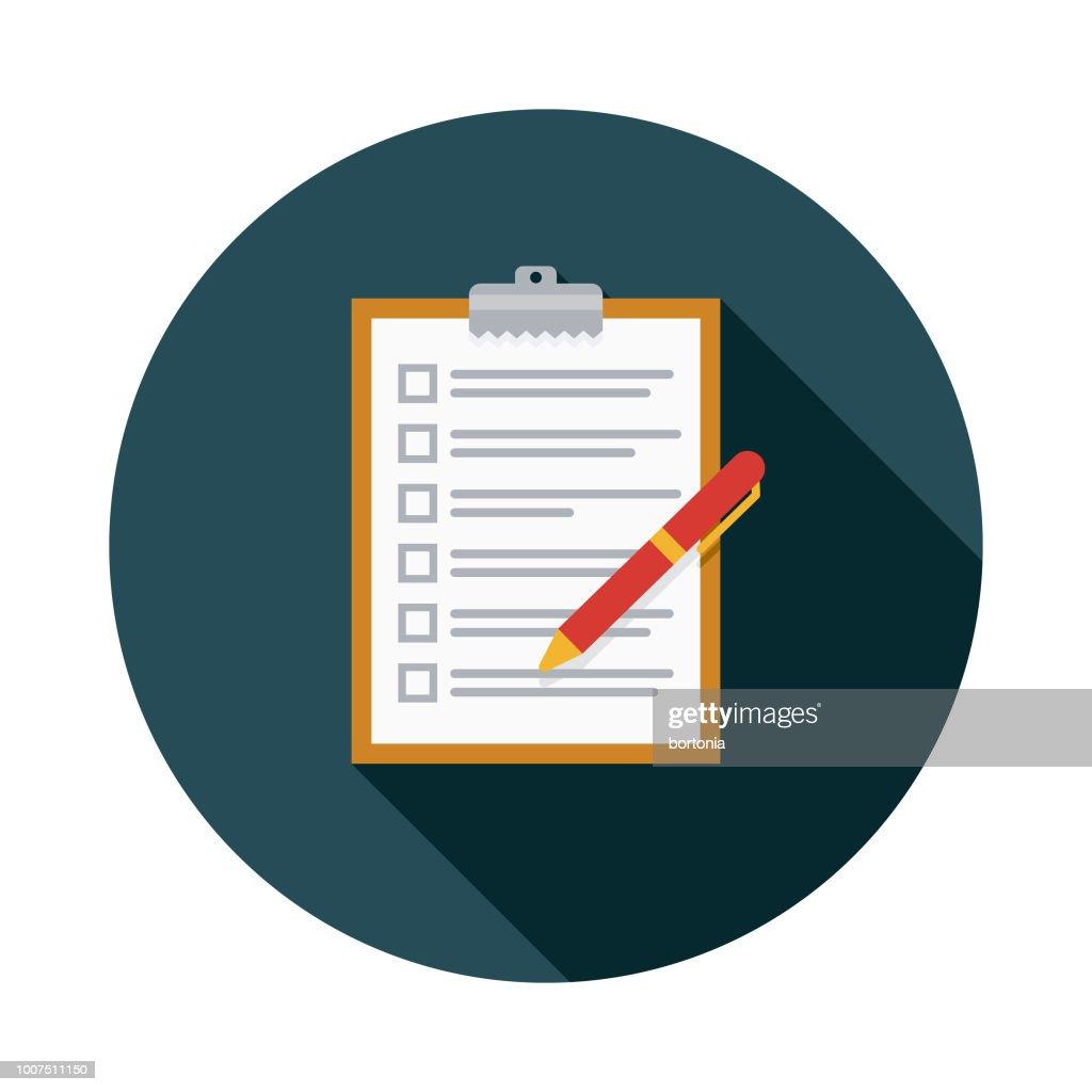 チェックリスト フラット設計保険アイコン : ストックイラストレーション