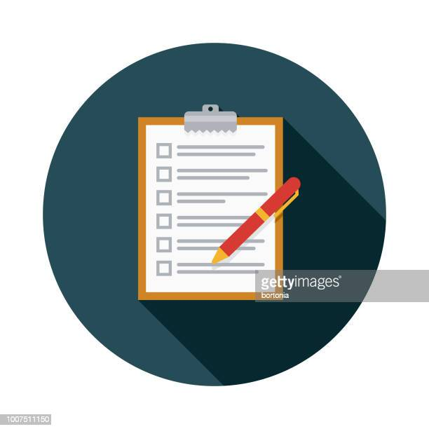 checklist flat design insurance icon - contract stock illustrations